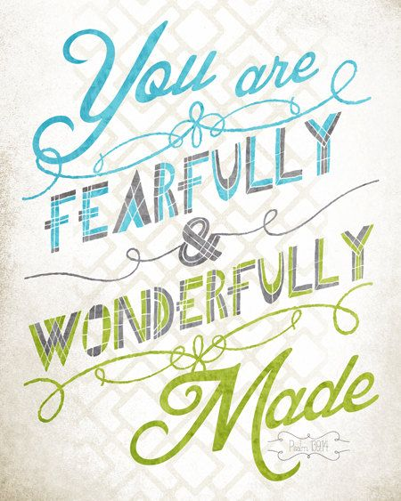 8x10 art print - Fearfully & Wonderfully Made - Blue - Green Playful Typography Nursery/Playroom Poster Print - Psalm Scripture Bible Verse. $17.00, via Etsy.