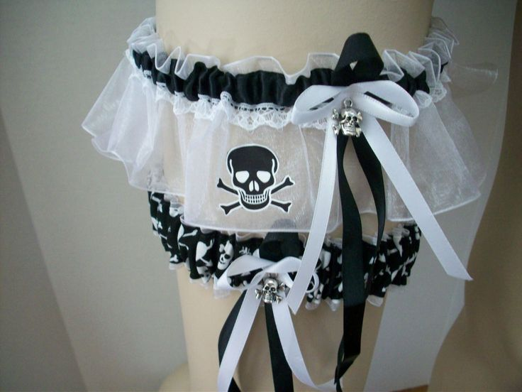 Black and White Skulls Wedding Garter Set. $59.00, via Etsy.