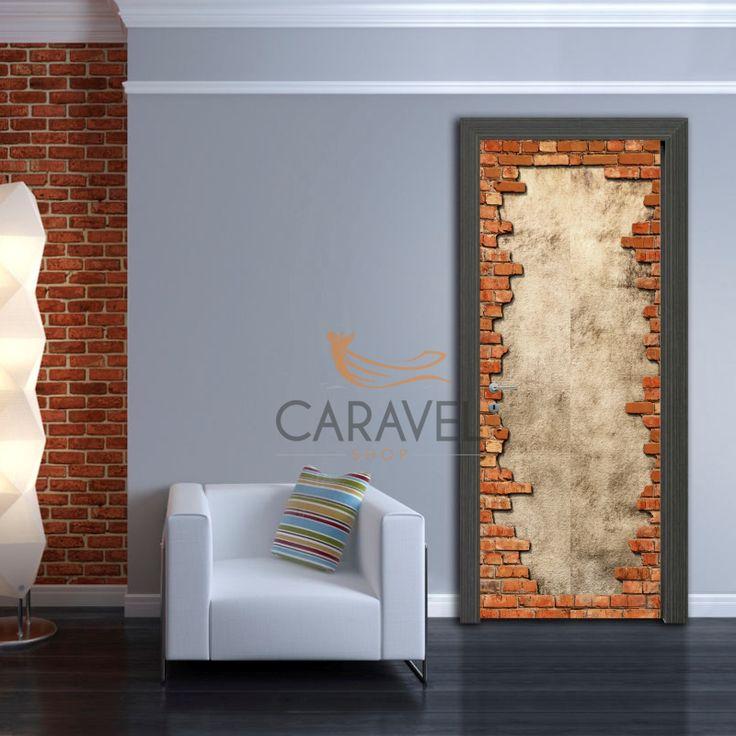 Αυτοκόλλητο Πόρτας τούβλα