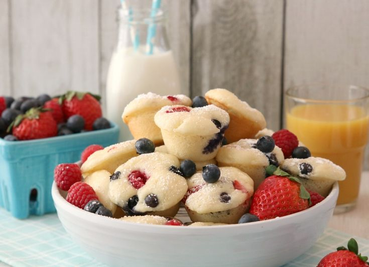 Berry Protein Pancake Bites Made With Krusteaz Buttermilk Protein Pancake Mix
