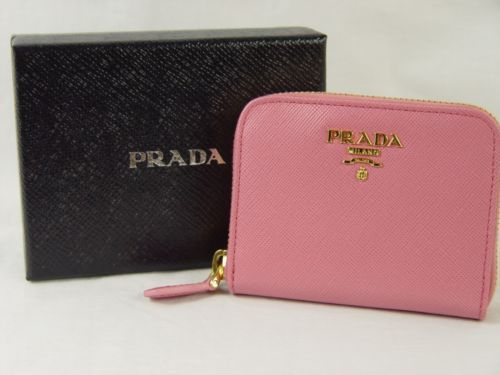 PRADA NWT Saffiano Leather Credit Card Holder Zip Around Wallet ...