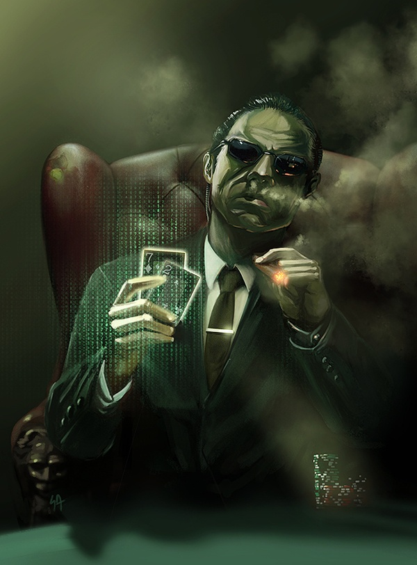 """""""Illusions Mr. Anderson, vagaries of perception. Temporary constructs of a feeble human intellect trying desperately to justify an existence without meaning or purpose.""""   Agent Smith by Johann Goutard, via Behance  """