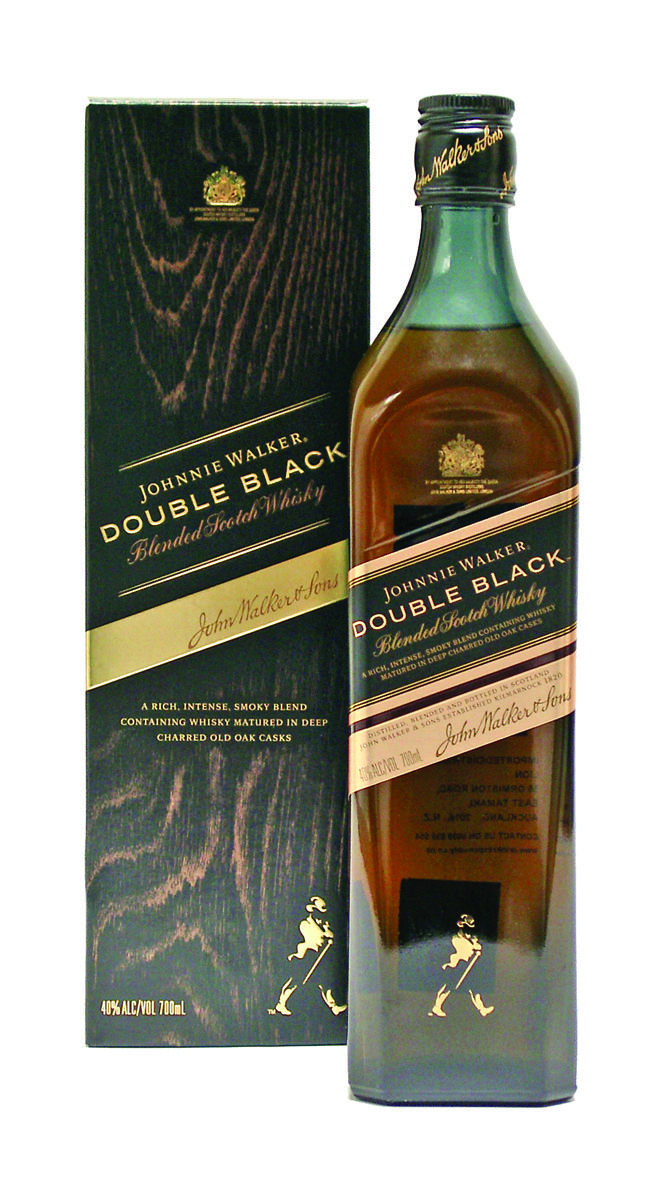 Johnnie Walker  Double Black Blended Scotch Whisky. A rich,  intense, smoky blend containing Whisky matured  in deep charred old Oak casks. 700ml $74.99.