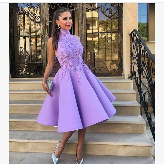 High Neck Evening Dress,Short Evening Dress,Purple Prom