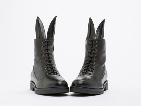 Minna Parikka Buster Spade Lace Up Ankle Boot in Black Leather at Solestruck.com