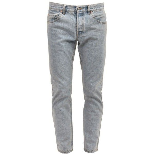 Marble Washed Denim Jeans ($590) ❤ liked on Polyvore featuring men's fashion, men's clothing, men's jeans, light blue, mens blue jeans, gucci mens jeans, mens leather jeans and mens patched jeans