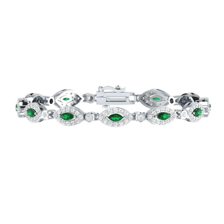 "4.10 Ct Green Emerald W/ Sapphire 925 Sterling High Fashion Tennis Bracelet 7"" #braceletrealgold #Tennis"