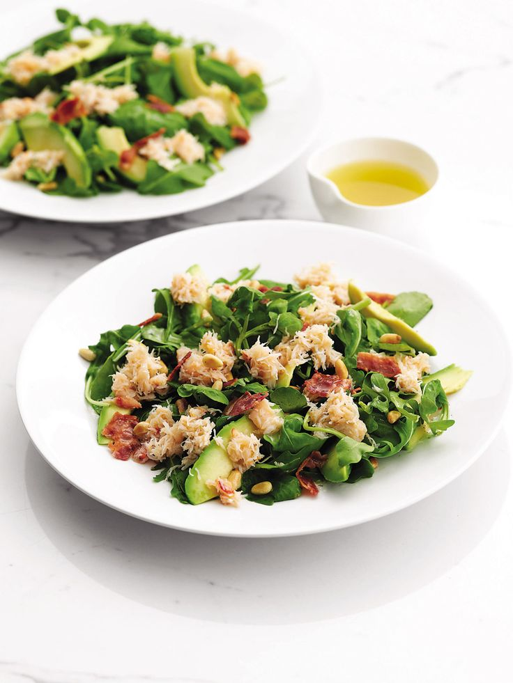 With a fabulous blend of juicy crab, creamy avocado and salty bacon, this easy salad recipe is a guaranteed winner.