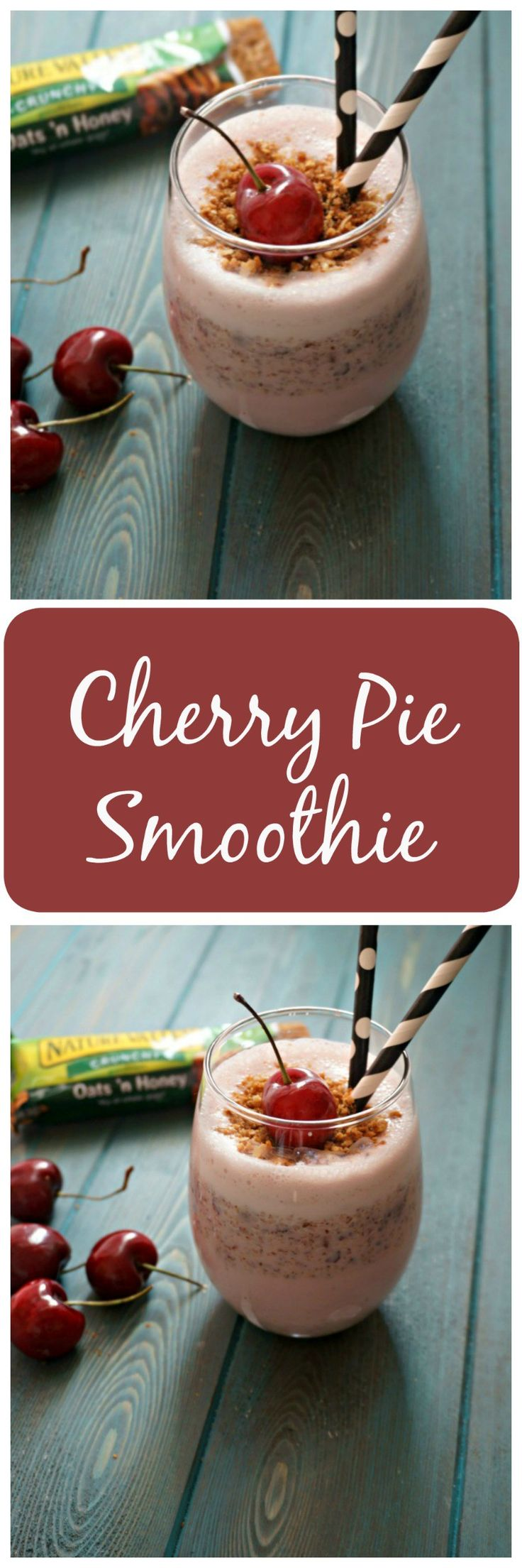 """Cherry Pie Smoothie: All the flavors of a cherry pie in smoothie form complete with a crust """"crumble"""". #BeGreatOutThere #IC #AD @NatureValley"""