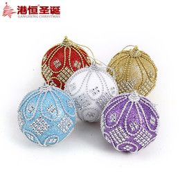 2016 Luxury Christmas Ornaments Wholesale-8cm Luxury Sticky Bead Foam High-grade Painted Christmas Ball For Christmas Tree(CB-079) Luxury Christmas Ornaments outlet