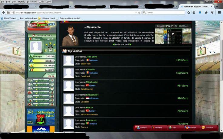 http://www.managerleague.com/index.pl?ref=427192 http://www.goaltycoon.com/bestfootballgame/onimushacs  De ceva vreme îmi petrec timpul liber jucând două jocuri de manager de fotbal online. Ambele jocuri sunt free și au secțiune în limba română, dar există și posibilitatea de a investi în echipă, iar asta te ridică din toate punctele de vederea ale jocului (am văzut-o pe pielea mea). Bun, să revenim la jocuri. Este vorba despre GoalTycoon și ManagerLeague. Intrați și vă convingeți.