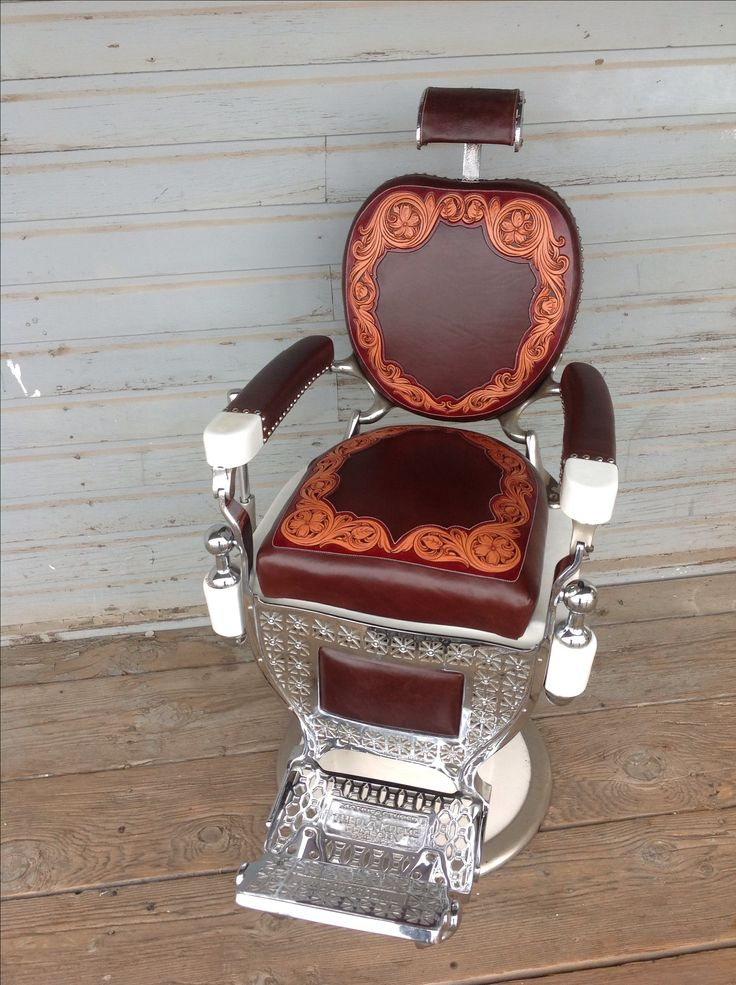Hand tooled western 1920 barber chair.