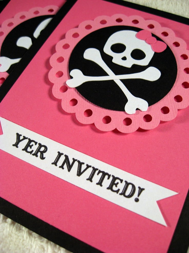 Pirate Girl Party Custom Party Invitations. $12.00/6 customized cards, via Etsy.