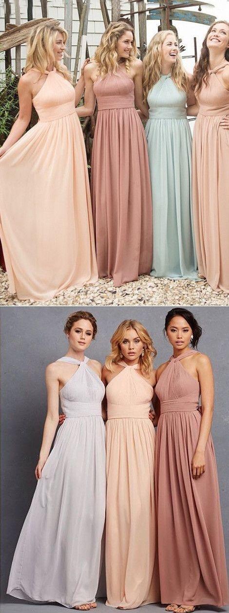 2016 maxi long chiffon bridesmaid dress, Rose Quartz Bridesmaid Dress, wedding party dress