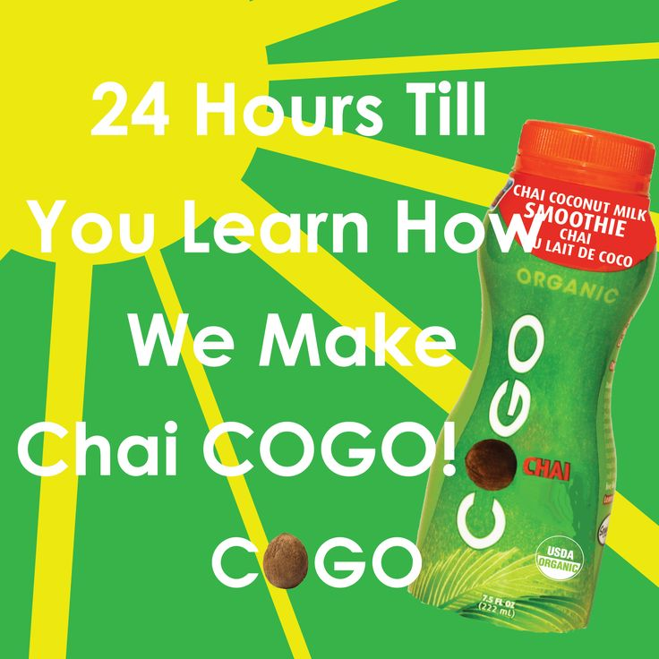 Social media countdown image: 24 hours till you learn how we make Chai COGO on Food Network Canada's Food Factory