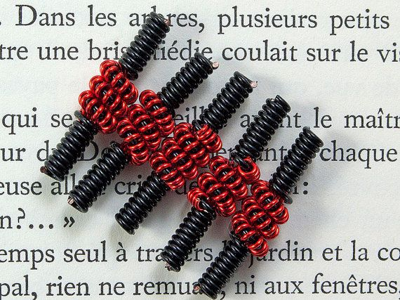 Coiled wire beads black and red handmade by LindenTreeSupplies