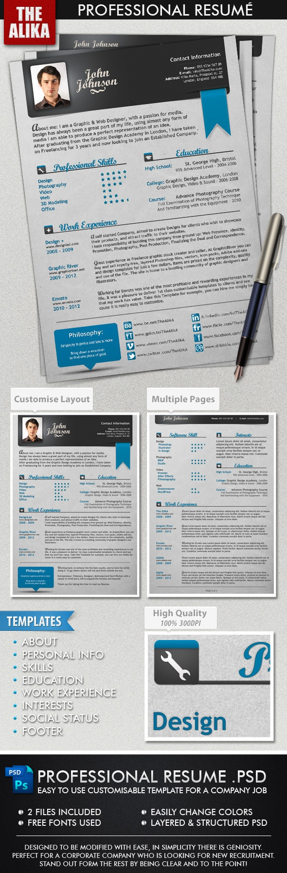 Professional Resume Resumes Stationery Easy To