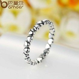 BAMOER  925 100% Solid Sterling Silver Forever Love Heart Fashion Ring