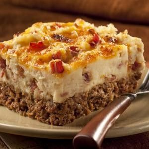 Cowboy Meatloaf  Casserole...We made this yesterday, but I made my own garlic potatoes. Family agreed it was good, but my daughter didn't like the bacon in the potatoes.