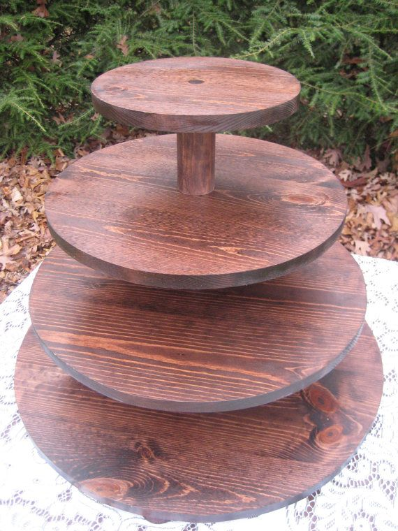 Cupcake Stand, Rustic Cupcake Stand, Cake Stand, Wood Cupcake Stand, 4 Tier Cupcake Stand, Rustic Wedding, Your Divine Affair, Cup Cake PLEASE READ BEFORE ORDERING! We are now on a 3-4 week turnaround time to get orders shipped out. If you need something sooner, you can convo us, and we will see what we can do. What a show stopper! Let this be the highlight of your dessert table! Cupcake stand, wedding, round, dark stain, large. This stand has 4 tiers. There is 5 between each tier. The…