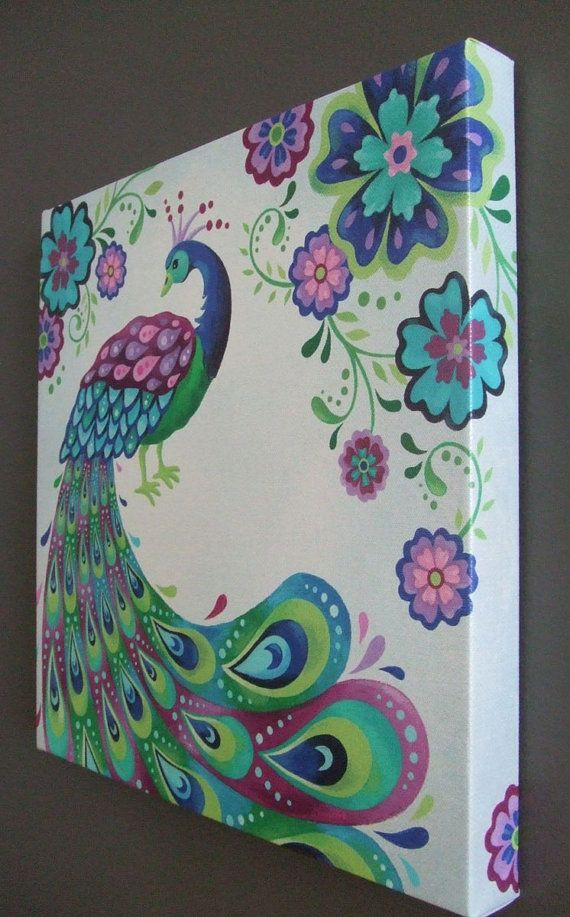 Peacock Gallery Wrapped Canvas. Cute gift idea + color scheme