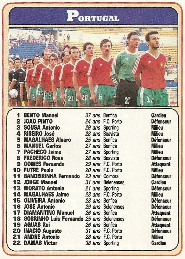 Portugal team card for the 1986 World Cup Finals.