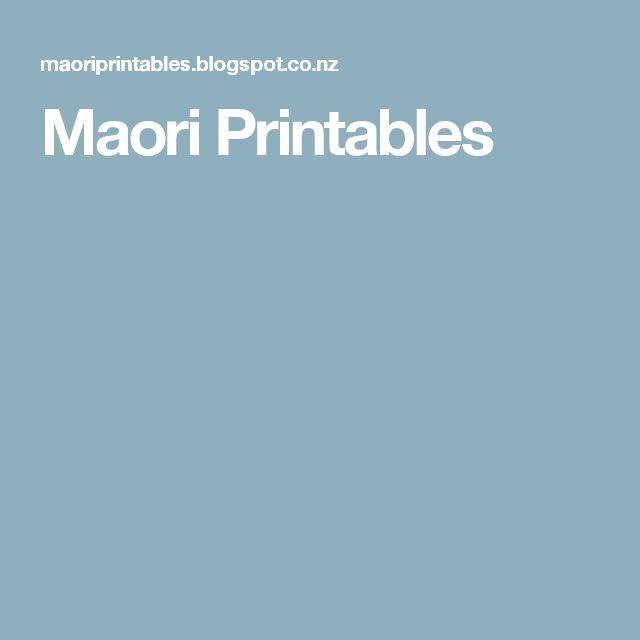 Maori Printables