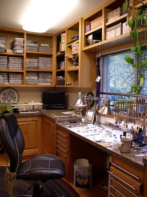 jewelry making studio - lots of light & storage  ---  You mean heaven? O.O