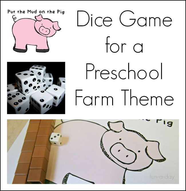 """Children explore math concepts with a dice game that's silly and fun - """"put the mud on the pig!"""" Great for a preschool, kindergarten, or homeschool farm theme. Includes free printable."""