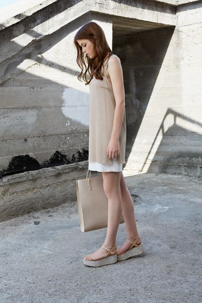 DOUBLE LAYERED V-NECK DRESS D029 SHOPPER BAG AC013