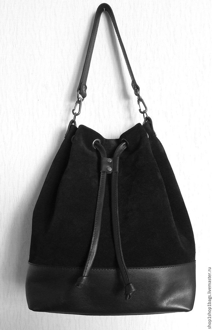 Купить Кожаная сумка торба на плечо. Черная замша. Черный цвет. - черный, замшевая сумка