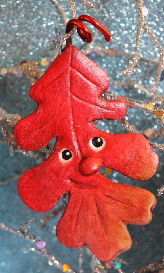 OOAK Red Paper Clay Oak Leaf Ornament by bzlittlechristmaself