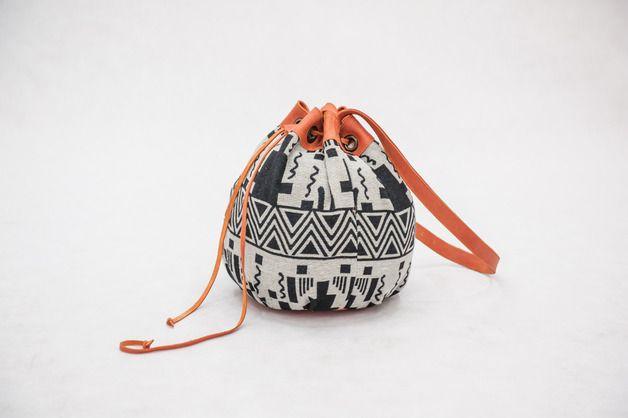 Sakwa worek w azteckie wzory - skóra i żakard - KOKOworld - Pozostałe www.kokoworld.pl #kokoworld #bag #handmadebag #fairtrade #ethno