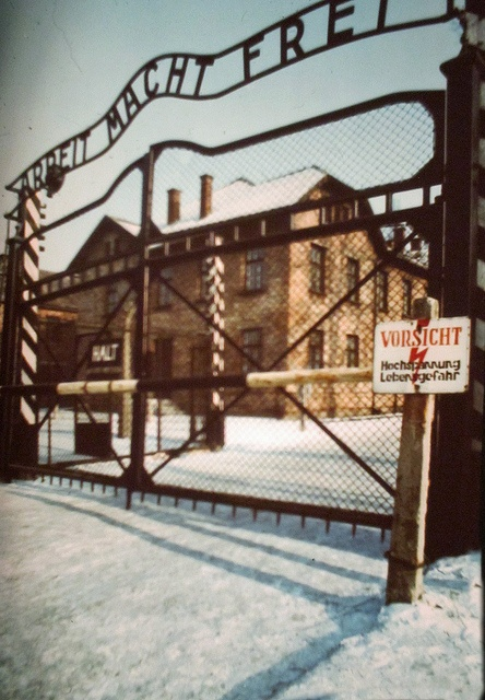 """The words """"Arbeit Macht Frei"""" are written on the gates when entering the Auschwitz concentration camp in Poland. The words are translated to mean """"Work Brings Freedom"""". However, over 4 million Jews died here during the Holocaust, so this statement was a false hope."""