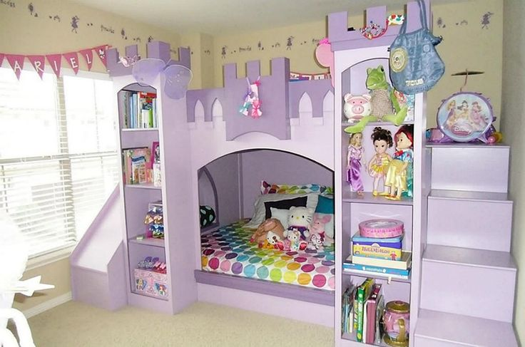 Daughter's bedroom: this fabulous palace bed with a slide will make our daughter's room into a special and magical place of her own. The lilac tones will look lush with the Dreamscape bedding and the rest of the room will be furnished in matching lilac and harmonising pale pink, pale blue and soft green. #sainsburys #autumndreamhome