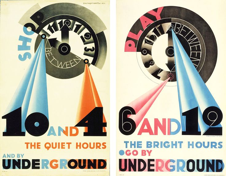 Art Deco London Underground posters Shop between 10 and 4 and Play between 6 and 12 by Edward McKnight Kauffer