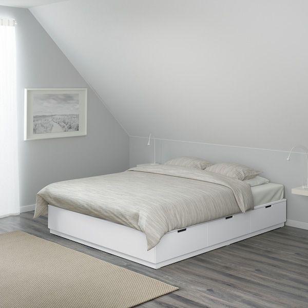 Nordli Bedframe Met Opberglades Wit 140x202 Cm Ikea In 2020 Bed Frame With Storage White Bed Frame Bed Frame