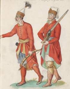 Solak Archer and Janissary, by Lucas d'Heere, about 1575