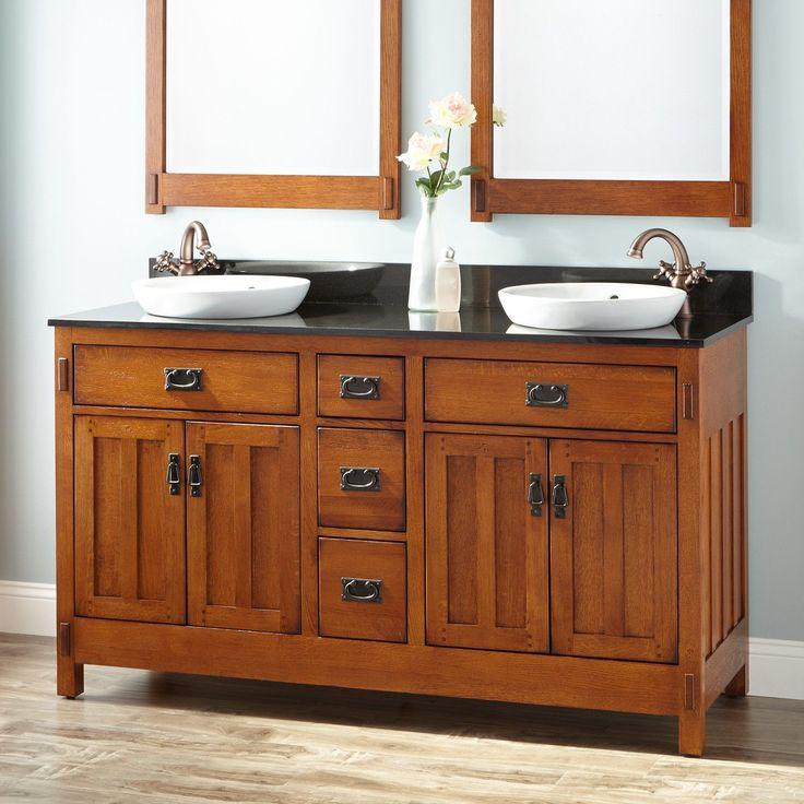 American Craftsman Double Vanity For Undermount Sinks   Rustic Oak   Bathroom  Vanities   Bathroom