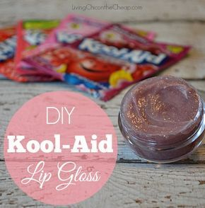 **DIY Kool-Aid Lip Gloss** This is SO FUN! Plus this is SUPER EASY to make! (inexpensive too). Prefect idea for a Girls Slumber Party or a fun Homemade Beauty Gift. So many flavors to choose from. I love the Cherry!