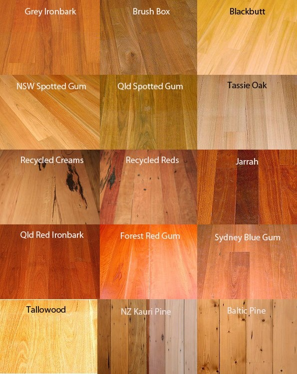 Wooden floorboards I like the jarrah and the Qld Red Ironbark.
