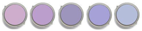 Paint colors shown, left to right: Benjamin Moore Purple Easter Egg 2073-50; Dunn Edwards or California Paints Purple Profit DE5983; Benjamin Moore Snugglepuss 1405; DE5941 Simply Violet; Benjamin Moore Oriental Iris 1418.