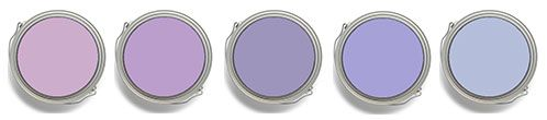 Master bath Paint colors shown, left to right: Benjamin Moore Purple Easter Egg 2073-50; Dunn Edwards or California Paints Purple Profit DE5983; Benjamin Moore Snugglepuss 1405; DE5941 Simply Violet; Benjamin Moore Oriental Iris 1418.