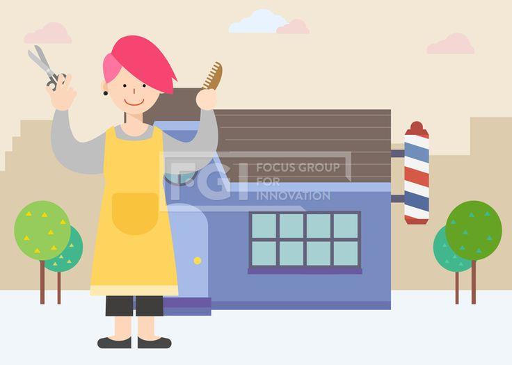 SILL200, 직업, 생활, 라이프, 벡터, 에프지아이, 사람, 캐릭터, 1인, 건물, 나무, 구름, 서있는, 소상공, 직원, 창업, 남자, 미용, 관리, 헤어, 헤어디자이너, 가위, 빗, 가게, 미용실, 이발소, 일러스트, illust, illustration #유토이미지 #프리진 #utoimage #freegine 19885295