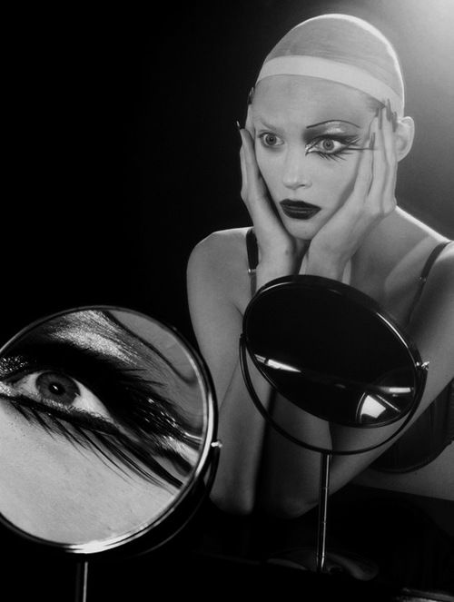 """Cabaret"" - Vogue Italia March 06. Photography by Miles Aldridge. Model: Anja Rubik - mirror"