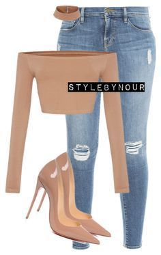 Untitled #237 by nourfakih on Polyvore featuring polyvore fashion style Frame Denim Christian Louboutin clothing