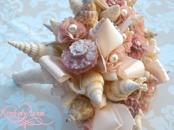 Made to order custom details bridal bouquet of shells and for What are shells made of