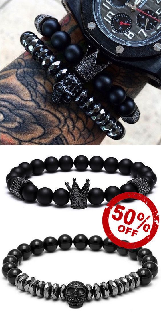 Skull bracelets for men, complete your style with these unique king crown and skull charm men's bracelets. They look great on their own or to sit beside your watch. complete your men's accessories arsenal today.