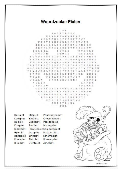 Woordzoeker Pieten Sinterklaas wil je deze woordzoeker in een Word-bestand, stuur me dan even een berichtje