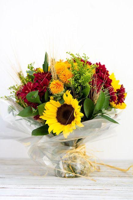 Bouquet with Sunflower, Goldenrod, Chrysanthemum, Safflower, Ruscus and Wheat  · Album by Yana Gourenko
